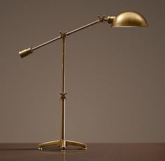 RH& Rowan Pharmacy Task Table Lamp:A classic fixture like those used in apothecaries. Task Lighting, Home Lighting, Lighting Design, Lighting Ideas, Modern Brass Chandelier, Brass Lamp, Task Lamps, Bedside Table Lamps, Lamp Table