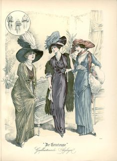 [De Gracieuse] No. 1. Namiddagtoilet van zeer soepel velours- mousseline. No. 2. Kimono-japon in een prinseslijn geknipt en vervaardigd van velours-de-laine No. 3. Toilet van gladde en geplisseerde, soepele zijde. (November 1912)