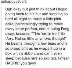 I really think they didn't give Hagrid enough credit in the book for always taking care of Harry. I mean Harry named one of his children after luna but why not Hagrid or Remus. Harry Potter Love, Harry Potter Universal, Harry Potter Fandom, Harry Potter Memes, Slytherin, Scorpius And Rose, Movies Quotes, Must Be A Weasley, No Muggles