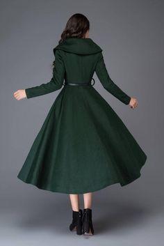 Green Wool Coat, Long Wool Coat, Long Winter Coats, Winter Coats Women, Dress Coats For Women, Fit And Flare Coat, Retro Mode, Maxi Coat, Tulle Prom Dress