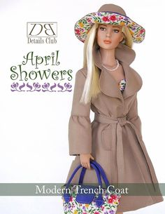 Sewing pattern for 16 inch fashion dolls: Modern Trench Coat