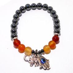 Hematite and Carnelian Negative Protection Positive Energy Bracelet | Edgy Soul