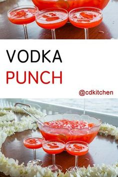 Vodka Punch - The combination of cranberry juice, lemonade and makes this a very refreshing punch. It's always a hit with large groups and you can't beat how simple it is to make. Hint: freeze additional cranberry juice in ice cube trays to use in pla Alcoholic Punch Recipes, Drinks Alcohol Recipes, Cocktail Recipes, Cocktail Ideas, Margarita Recipes, Juice Recipes, Alcoholic Drinks, Drink Recipes, Party Drinks