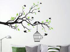 Tree Branch with Bird Cage Wall Art Sticker  Available in a one or two colour design in a wide range of colours & sizes to suit your room http://www.smartywalls.co.uk/tree-branch-with-bird-cage-wall-sticker.html