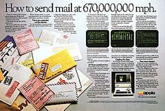"""THE BIRTH OF E-MAIL - """"Apple's E-Mail Ad"""" (1983) - Double-page magazine ad for the Apple III touting something called """"electronic mail"""" as one of the reasons folks might was to buy a new personal computer."""