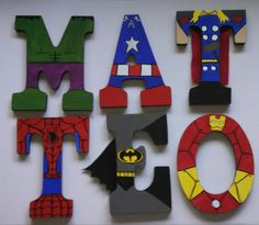For my little superhero Ethan ❤️Hand-painted 9 tall wood superhero letters by TheHandpaintedHero