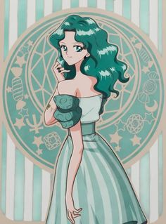 Michiru Kaiou (Sailor Neptune) from Sailor Moon Sailor Moon Girls, Arte Sailor Moon, Sailor Moon Fan Art, Sailor Moon Character, Sailor Moon Manga, Sailor Moon Crystal, Sailor Neptune, Sailor Saturn, Sailor Moom