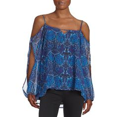 Buffalo David Bitton Patterned Could Shoulder Top ($69) ❤ liked on Polyvore featuring tops, blue, cut out tops, open shoulder top, cut out shoulder tops, cold shoulder tops and blue top