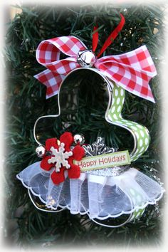Gingerbread Girl Cookie Cutter Ornament -- I don't think you need the skirt - just the ribbon around the edge and bow on top is cute.