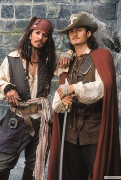 """""""Captain Jack Sparrow and Will Turner,"""" pic submitted to Fan Pop by LalaDepp.  http://www.fanpop.com/clubs/captain-jack-sparrow-vs-will-turner/images/31410749/title/jack-will-fanart"""