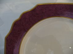 Service Plates Mottahedeh Set of 4 - Scalloped Edge with aubergine border and hand-painted gilt trim detail -  china, dinner, wedding gift
