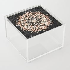 Metallic Mandala Acrylic Box by Bee-Bee Deigner - 4 X 4 X 3 Black Marble Background, Jewelry Gifts, Unique Jewelry, Good Advice For Life, Storage Places, Acrylic Box, Black Backgrounds, Mandala, Decorative Boxes