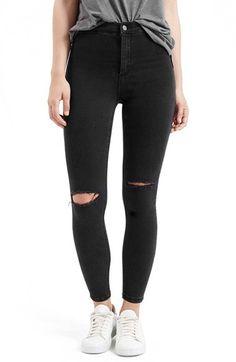Petite Women's Topshop 'Joni' Destroyed Moto Jeans, Size 24 x 28 - Black