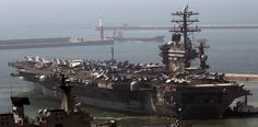 The Nuclear-powered US aircraft carrier USS Nimitz departs a naval base in Busan, South Korea to join a two-day South Korea-US joint naval drill against North Korean provocations in the East Sea.