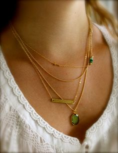 Gold Layering Necklaces, 14K gold fill, Set of 3, Sideways Cross, Chrysophase, Hammered Bar