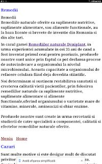 PSORIAZIS-CORESPONDENTA  DENIPLANT: Remedii naturale Deniplant la Centrul de Biomedici... Plant