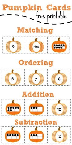 Matching Pumpkin Number Cards (free; from Fantastic Fun & Learning)