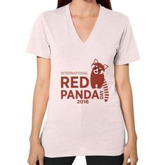 Red Panda Day V-Neck (on woman)