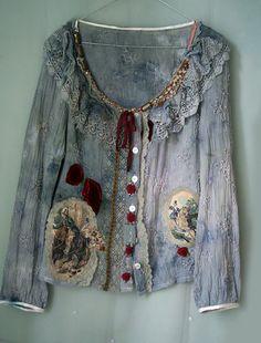 Huntress jacket blouse vintage and antique laces  by FleurBonheur