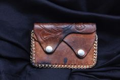 Vintage Hand Tooled Leather Zippered Coin Purse 2 Pockets Snaps Manly #HandMade…