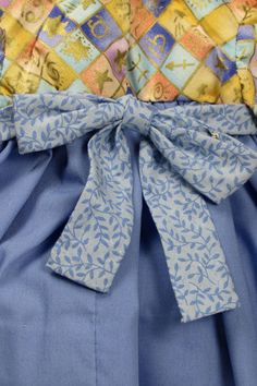 Classic Blue and Yellow Doll Dress with Bow by monkeystitches