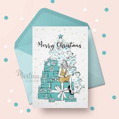 festive seasonal Christmas greeting card custom made with fashion illustration