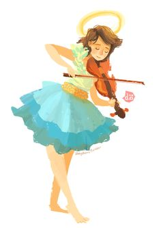 The violin player by Abby Dela Cruz. She has an amazing arty tumbler account - http://abbydraws.tumblr.com/