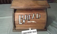 BREAD BOX/WITH SHELF VINTAGE ROLL TOP  WOOD,BROWN,KNOCK ON WOOD CORP #KNOCKONWOODCORP