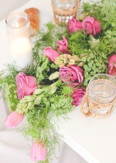 DIY Wedding: Fresh Floral Table Runner by laurensaylor for Julep Diy Wedding Flowers, Diy Wedding Decorations, Flower Decorations, Floral Wedding, Wedding Ideas, Floral Centerpieces, Floral Arrangements, Flores Diy, Mesa Floral