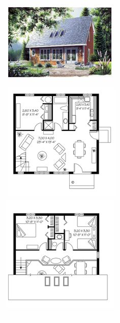 Saltbox House Plan 65163 | Total Living Area: 1170 sq. ft., 2 bedrooms and 1.5 bathrooms. #saltboxhome