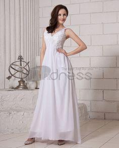Long Evening Dresses-Solid Sleeveless Sleeveless V Neck Zipper Back Chiffon Evening Dresses
