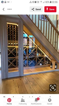 Bespoke under stairs wine racking project installed in Durham, UK. Fits the spac. Stair Shelves, Stair Storage, Wine Storage, Firewood Storage, Storage Ideas, Architectural Digest, Style At Home, Durham, Space Under Stairs