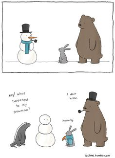 comics, comic strips, snowman, animals, bears, rabbits, skunks, jokes, pranks