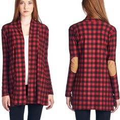 •plaid checker elbow patch cardi• Cardi features checker design with elbow patch design.  Material is 92% poly and 8% spandex. Price is FIRM unless bundled. Sweaters Cardigans