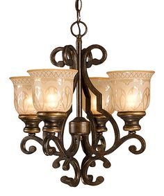 Loving this Bronze Umber Four-Light Norwalk Crystal Mini Chandelier on #zulily! #zulilyfinds