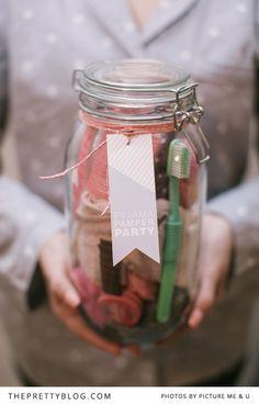 slumber party jar - free printable tag