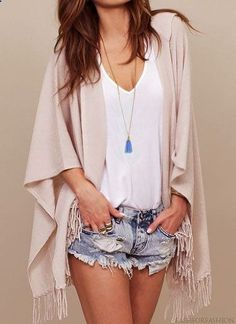 effortless summer outfit... i bought something similar to this today but white and more see through @Laura Molina