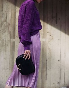 Monochromatic fashion look - Pantone color of the year 2018 - Ultra Violet on purple