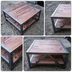 Industrial steel/wood coffee table Square Bolt head round how rivet Color: -welded frame: stainless steel -trays: rustic oak Dimensions (in cm): L.90 P.90 H.48 x x