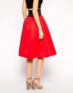 Enlarge ASOS Midi Skirt in Scuba with Exposed Elastic
