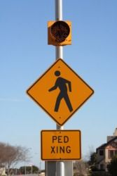 Ped xing means pedestrian crossing.