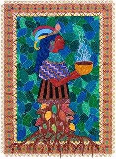 """""""Cacao, or chocolate, was sacred in ancient Mesoamerica. The Mayas, Toltecs, Aztecs, and other tribes ascribed cacao to their gods, and prepared cacao drinks from ground, roasted cocoa beans. For my painting I envisioned a chocolate deity emerging from a cacao tree. The pods, which contain the cocoa beans and change color as they ripen, grow on the trunk. The tree produces fruits and flowers at the same time, and the flowers often have to push through thick layers of moss on the trunk."""""""