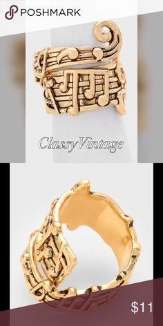 Antique gold music note swirl ring Faux antique gold music note swirl ring. Adjustable by closing ring Lucky Jewelry Rings