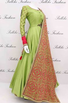 Elegant Light Green Soft Silk Designer Outfit with Gorgeous Dupatta Dress Indian Style, Indian Fashion Dresses, Indian Designer Outfits, Indian Outfits, Indian Gowns, Green Color Combination Dresses, Designer Anarkali Dresses, Designer Dresses, Pakistani Formal Dresses