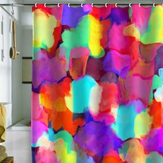 Love Love these bold colors for a bathroom