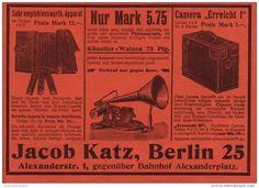 Original-Werbung/Inserat/ Anzeige 1902 - PHOTO-APPARAT/PHONOGRAPH/ CAMERA JACOB KATZ BERLIN ca. 190 x 130 mm