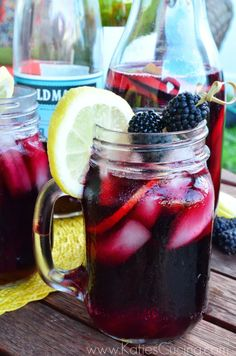 Blackberry Pomegranate Sangria Recipe - Katie's Cucina >> Camping ideas, Tips, Glamping, Outdoor Entertaining, Outdoor Drink Recipes Stephens --- all summer long! Party Drinks, Cocktail Drinks, Fun Drinks, Yummy Drinks, Beverages, Yummy Food, Summer Cocktails, Tasty, Sangria Recipes