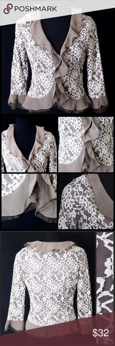 """Ruffle Lace Beige Ivory Gold Cardigan Jacket ‼️ PRICE FIRM UNLESS BUNDLED WITH OTHER ITEMS FROM MY CLOSET ‼️   SIMPLY BEAUTIFUL!!! Layers of tulle & lace make this an absolutely beautiful piece that can go from the office to a dinner party effortlessly.  And it is perfect for year round wear! Fully lined. It would look amazing with layers of pearls! Lots and lots of stretch for a perfect & comfortable fit! Self: 90% nylon, 10% spandex. Contrast: 100% polyester. Armpit to armpit 33""""-36""""…"""