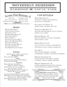 Sovereign Remedies - Cocktails and Local Food
