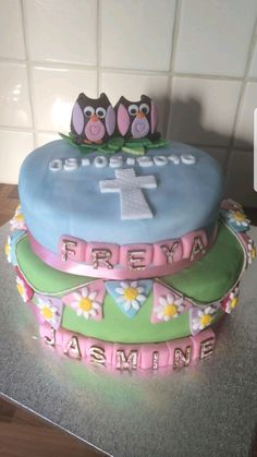 Christening cake , modern with owls